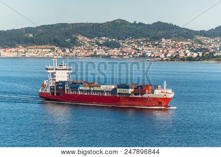 Vigo, Spain - May 20, 2017: Container Ship Ruth Sailing On The Vigo Inlet On Its Way To Vigo, Galici