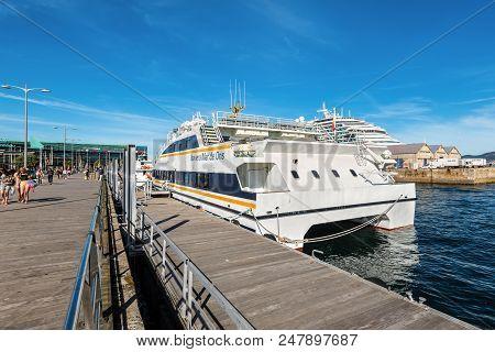 Vigo, Spain - May 20, 2017: Excursion Catamaran Naviera Mar De Ons Moored In The Port Of Vigo, Galic
