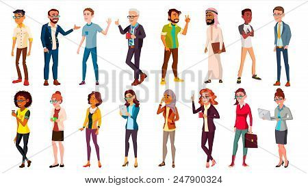 Multinational People Set Vector. Races And Nationalities. Men, Women. Business Person. Businesspeopl