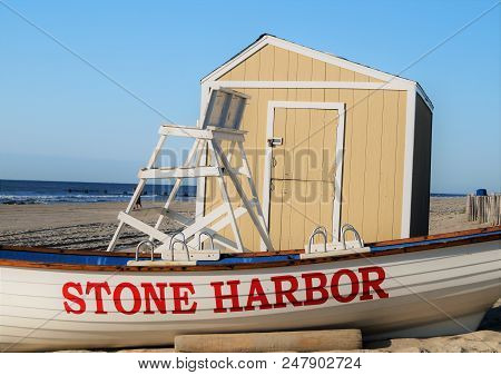 Stone Harbor, New Jersey - July 25, 2014: Stone Harbor Beach Patrol. A Beach Patrol Boat Near The Li