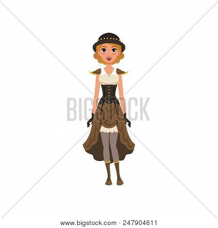 Cheerful woman in fancy steampunk clothing. Cute young girl in chemise dress, corset, gloves, bowler hat and boots with lacing. Cartoon female character. Colorful flat vector design isolated on white. poster