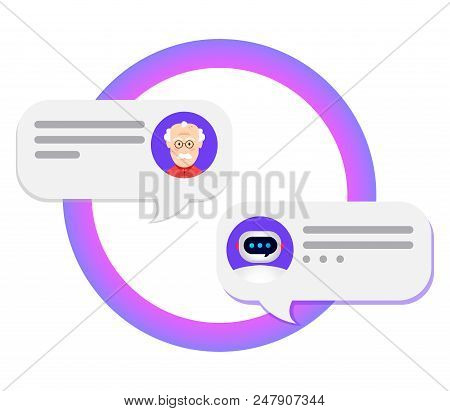 Chatbot Concept. Bot Chatting With Man . Online Conversation With Texting Message. Vector Illustrati
