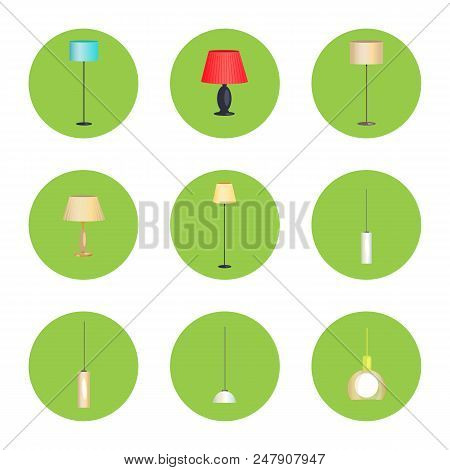Electricity Lamps Isolated In Green Circles Set, Vector Illustration Standard-lamps, Different Form