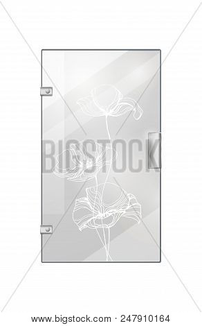 Glassy Entrance Door With Flower Wavy White Lines And Doorhandle On White Background. Vector Illustr