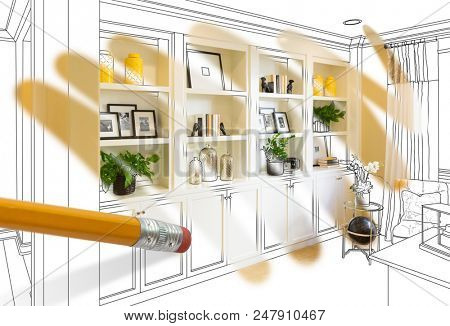 Pencil Erasing Drawing To Reveal Finished Cutom Built-in Shelf Design Photograph