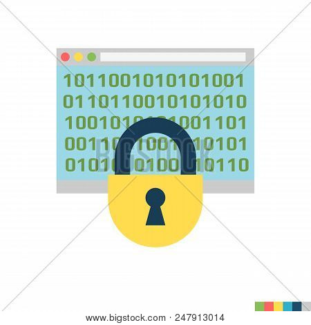 Cryptography Related Flat Vector Icon. Isolated On White Background. Trendy Flat Style.