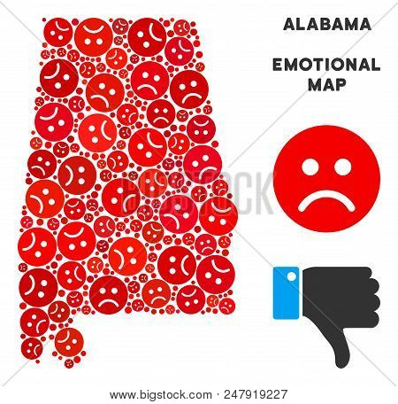 Sorrow Alabama State Map Collage Of Sad Emojis In Red Colors. Negative Mood Vector Template Of Crisi