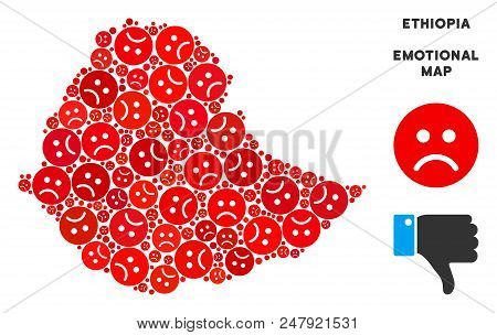 Sorrow Ethiopia Map Mosaic Of Sad Emojis In Red Colors. Negative Mood Vector Concept Of Depression R