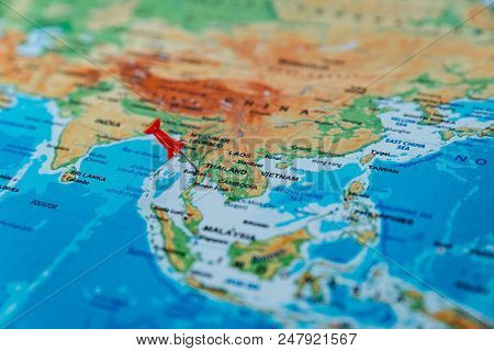 Pins On The Map Close Up To Thailand. Soft Focus