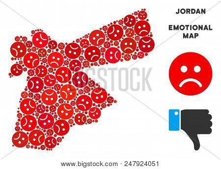 Sorrow Jordan Map Mosaic Of Sad Emojis In Red Colors. Negative Mood Vector Template Of Crisis Region