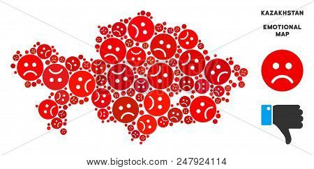 Sorrow Kazakhstan Map Composition Of Sad Emojis In Red Colors. Negative Mood Vector Concept Of Crisi