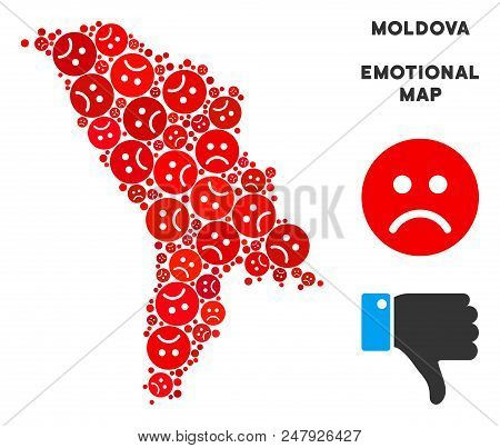 Sorrow Moldova Map Mosaic Of Sad Emojis In Red Colors. Negative Mood Vector Concept Of Crisis Region