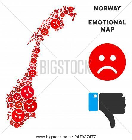 Sorrow Norway Map Mosaic Of Sad Emojis In Red Colors. Negative Mood Vector Concept Of Crisis Regions