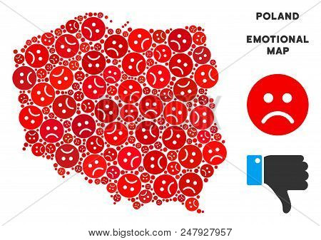 Emotion Poland Map Composition Of Sad Emojis In Red Colors. Negative Mood Vector Template Of Crisis