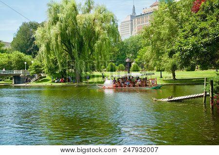 Duck Boat Tour In Boston, Massachusetts At The Boston Public Garden.