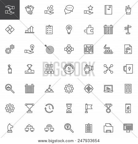 Work Productivity Outline Icons Set. Linear Style Symbols Collection, Line Signs Pack. Vector Graphi