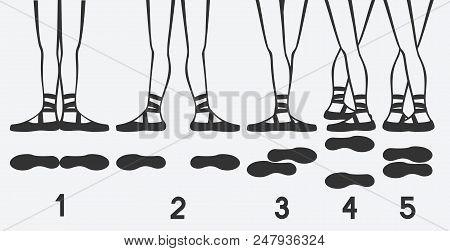 Ballerina Feet In Pointe Shoes. Five Ballet Positions. Vector Illustration - Eps 8