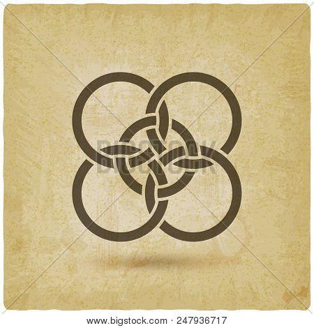 Five Interlocked Circles Vintage Background. Vector Illustration - Eps 10