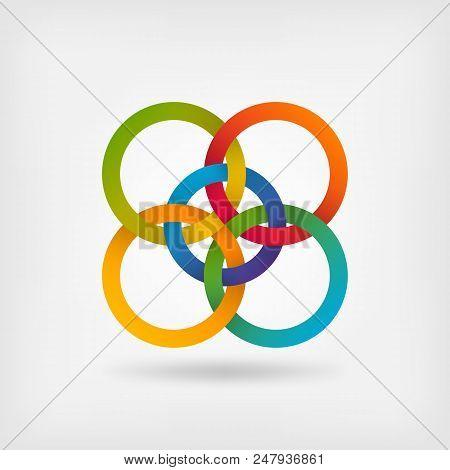 Five Interlocked Circles In Gradient Rainbow Colors. Vector Illustration - Eps 10