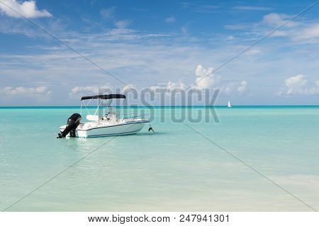 Tropical Boat Trip. Idyllic Scene Tropical Vacation Seaside. Motor Sailing Ship Ocean Blue Water. Wa