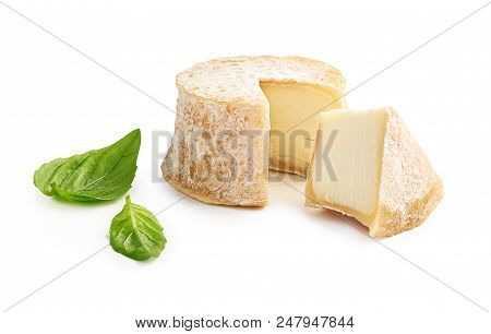 Crottin Cheese Sliced Isolated On White Background
