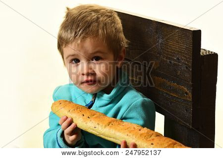 Fresh Bread. Little Child Hold Fresh French Baguette. Fresh Food Is The Best. Fresh Bakery Products.