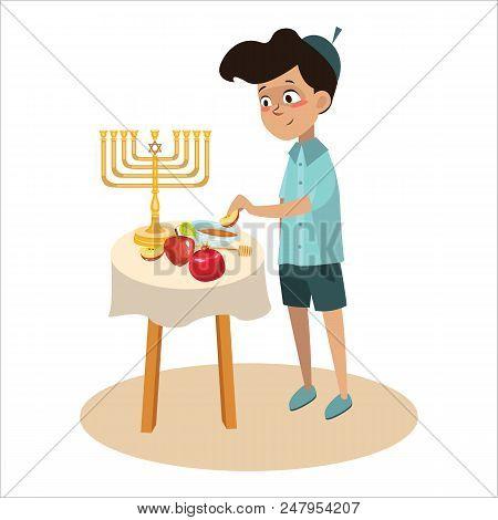 Little Boy In Yarmulke Eat Apple With Honey, Jewish Children Dipping Apple Slices Into Honey On Rosh
