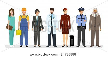 Employee And Workers Characters Standing Together With Doctor, Policeman And Nurse. Group Of Seven P