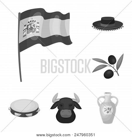 Spain Country Monochrome Icons In Set Collection For Design.travel And Attractions Vector Symbol Sto