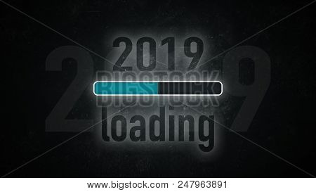 Loading Bar: 2019 Loading On A Dark Background