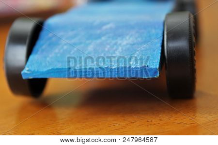 Angled Blue Race Car For Pinewood Derby