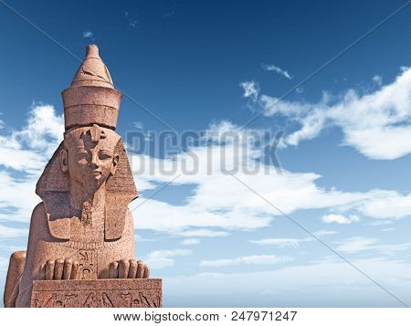 Egyptian Sphinx on blue sky background - 3D rendering
