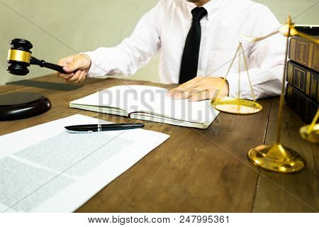 Judge With Gavel On Table. Attorney, Court Judge,tribunal And Justice Concept.