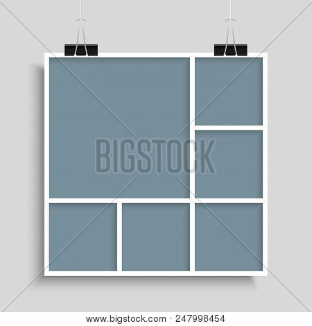Templates Collage Six Frames For Photo Or Illustration. Vector Frame For Photos, Pictures, Photo Col