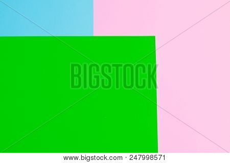 Soft Pink, Green And Blue Paper As Texture Background. Flat Lay. Minimal Concept. Creative Concept.