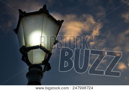 Conceptual hand writing showing Buzz. Business photo showcasing Hum Murmur Drone Fizz Ring Sibilation Whir Alarm Beep Chime Light post blue sky enlighten ideas message feelings thought poster
