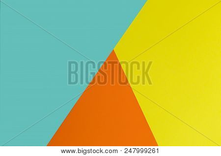 Soft Blue, Yellow And Orange Background. Colorful Texture. Minimal Concept. Creative Concept. Pop Ar