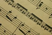 Close up of a printed music sheet poster