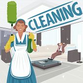 Cleaning woman stands in big clean live room and holding sprayer and dust brush or pom pom duster. Satisfied man on sofa. Cleaning lettering. Expressive cartoon style poster