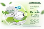 Hydrating Under Eye Gel Patches vector ads. Illustration with eye gel patches open container for your design poster
