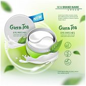 Hydrating Under Eye Gel Patches vector advertising for catalog, magazine. Illustration with eye gel patches open container for your design poster