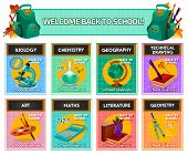 School subjects card for back to school and education poster template. Geography, biology, chemistry, physics, maths, art, geometry and literature banner with school supplies and science equipment poster