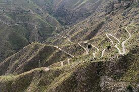 Empty Serpentine Road At Castelmola (near Taormina), Sicily, Italy.