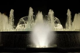 The Magic Fountain Of Montjuïc Illuminated By Night. Taken In Barcelona (catalonia, Spain)
