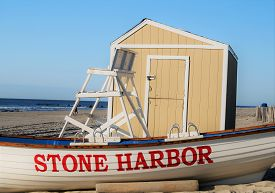 Stone Harbor, New Jersey - July 25, 2014: Stone Harbor Beach Patrol. A Beach Patrol Boat Near The Li