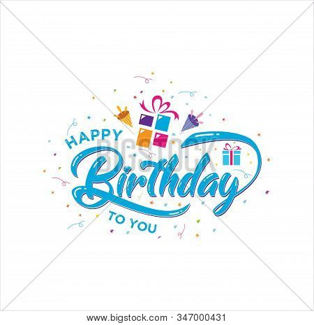 Creative Happy Birthday Logo Vector . Hand Drawn Happy Birthday Lettering Vector . Playful, Colorful