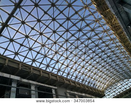 abstract modern roof from glass and metal