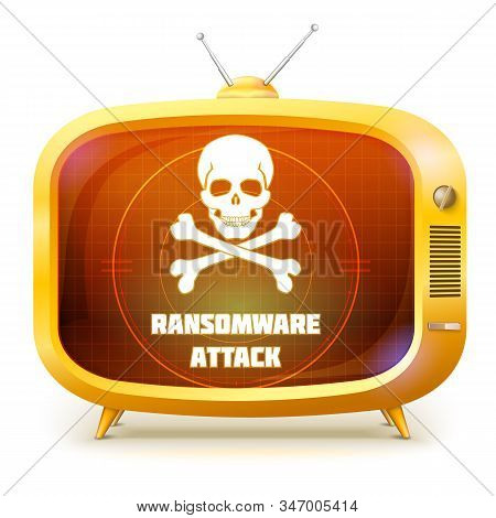 Yellow Retro Tv With Alert About Ransomware Attack Isolated On White Background. White Skull And Cro