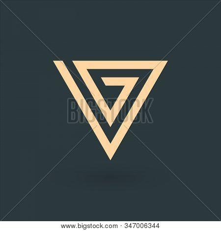 Vg V G Letter Logo Triangle Design. Corporate Tech Geometric Identity Concept. Stock Vector Illustra