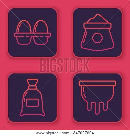 Set Line Chicken Egg In Box, Bag Of Flour, Bag Of Flour And Udder. Blue Square Button. Vector